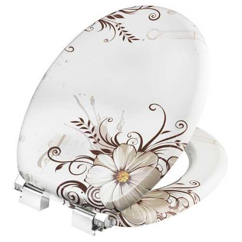 Fotografija WC daska BROWN FLOWER, lakirani medijapan, soft cl